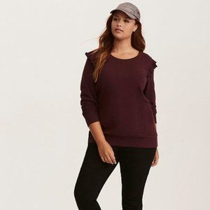Torrid 3 red wine terry ruffle sweatshirt top